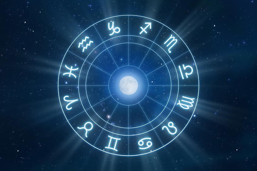All zodiac signs in a circle with moon in the middle and universe in the background