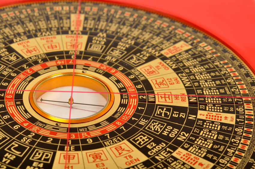 Close-up of a Chinese 'Lo Pan' compass, used in Feng Shui analysis.